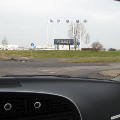 Saab sign telling you you