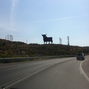 The cut out of a bull along the Spanish roads as a comercial for Osborne became a cult icon and I find it pieces of art.