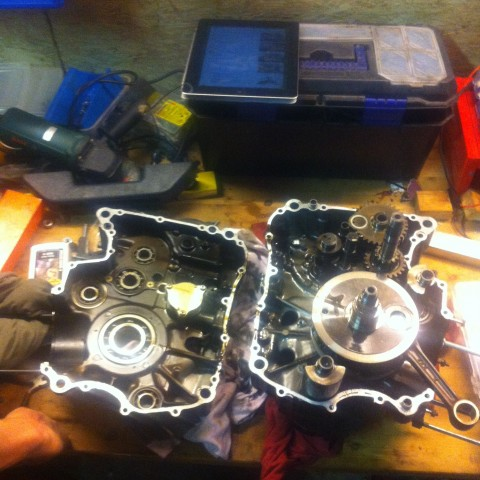 Victory moment: splitted the engine housing into two.
