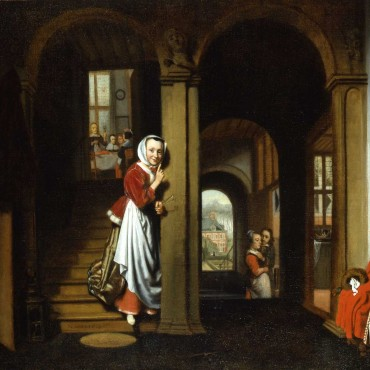 The painting of Nicolaes Maes shows a servant maid listening in on a forbidden romance during a family dinner.