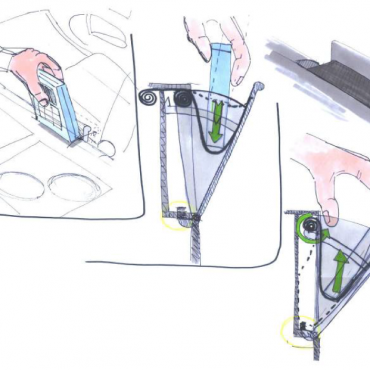 Storyboard: 1. When entering the car, the lid of the storage opens by simply pushing your device against it. 2. When you gently push your device into the storage area, a spring gets tensioned. 3. When you reopen the lid your device is retracted from the storage directly into your hand.