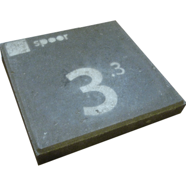 These spray-painted tiles were used during the test to point out the different boarding areas.