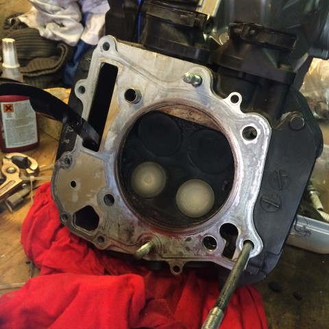 Got the new oil pump in and the base of the engine together (no pics). Now rebuilding the cilinder: View of the four valves