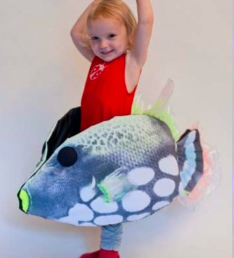 Within the waiting room children could put on these fish-suits and become part of the underwater world.