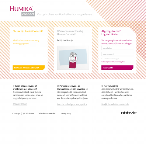 Homepage of the patient platform where they can login or signup. Underneath we placed an immediate explanation about the privacy, ownership of the data and the role of the pharmaceutical company.