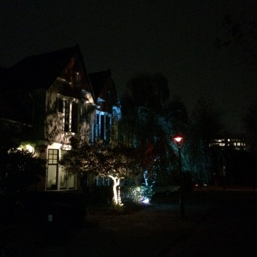 The bushes in the front garden make a natural filter/projection on the facades of the houses.